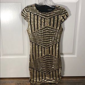 Fashion Nova Black and Gold Sequined Dress